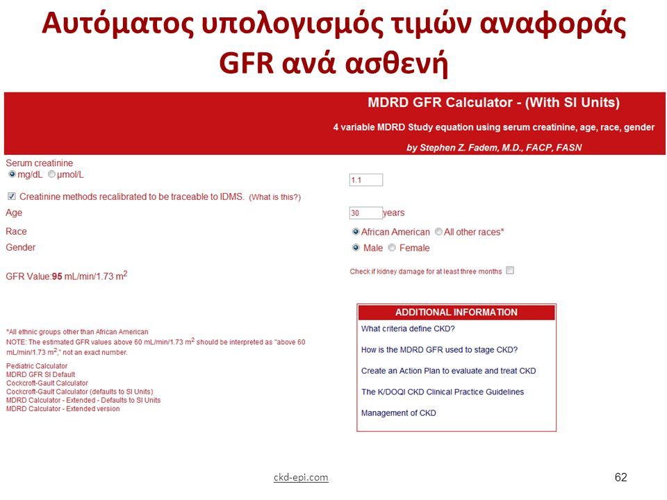 Ρυθμός σπειραματικής διήθησης για παιδιά (ml/min/1,73 m2)