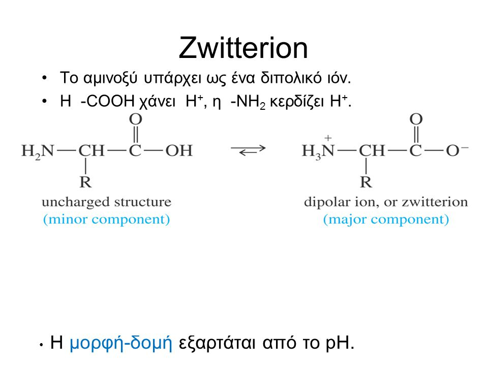 Zwitterion Το αμινοξύ υπάρχει ως ένα διπολικό ιόν.
