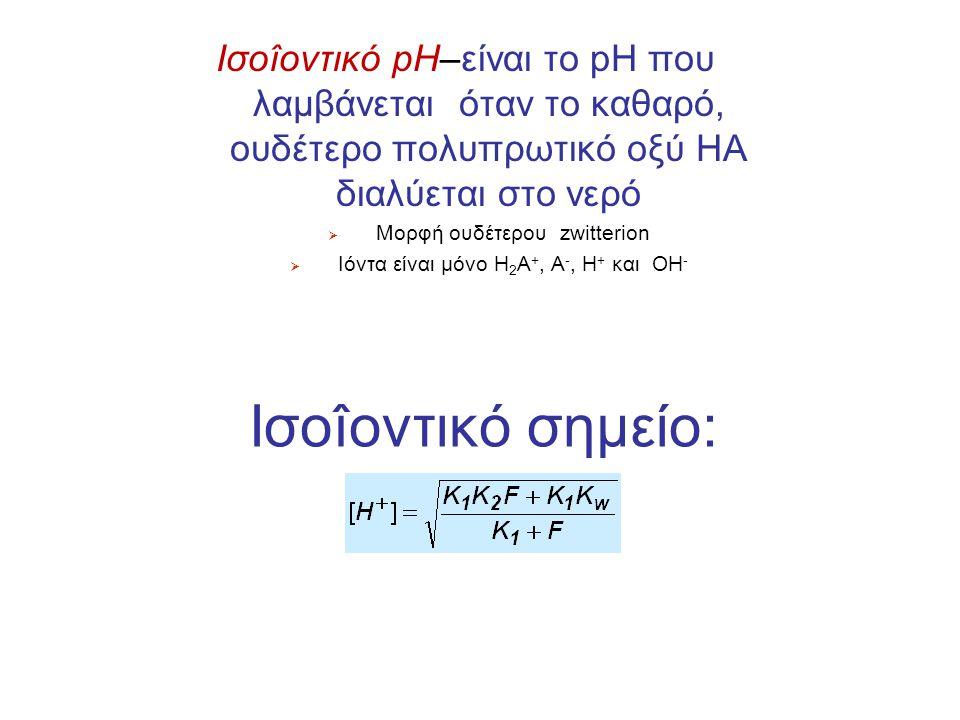 Iσοîοντικό pH–είναι το pH που λαμβάνεται όταν το καθαρό, ουδέτερο πολυπρωτικό οξύ HA διαλύεται στο νερό