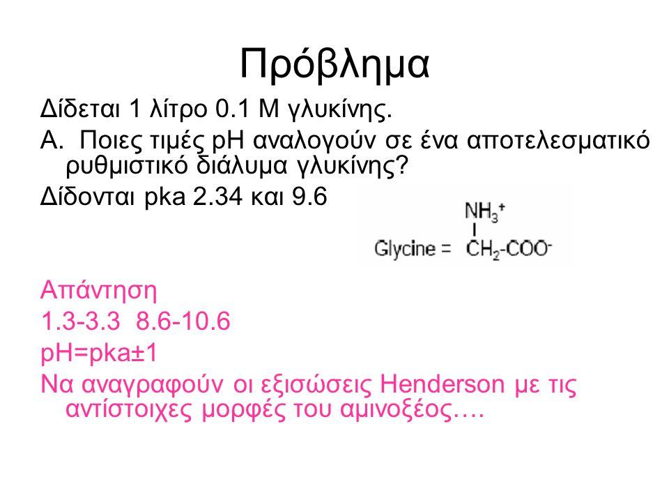 Πρόβλημα Δίδεται 1 λίτρο 0.1 Μ γλυκίνης.