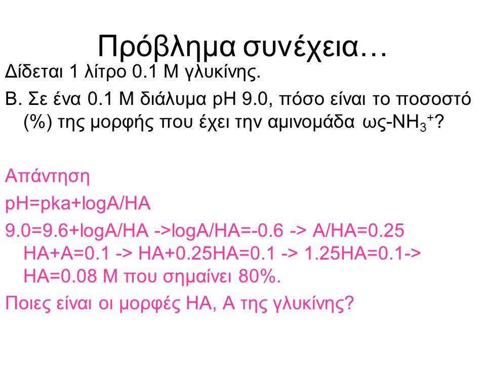 Πρόβλημα συνέχεια… Δίδεται 1 λίτρο 0.1 Μ γλυκίνης.