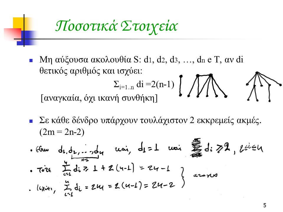Ποσοτικά Στοιχεία Μη αύξουσα ακολουθία S: d1, d2, d3, …, dn e T, αν di θετικός αριθμός και ισχύει: Σi=1..n di =2(n-1)
