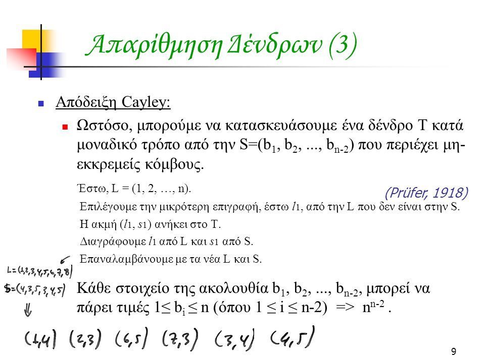 Απαρίθμηση Δένδρων (3) Απόδειξη Cayley: