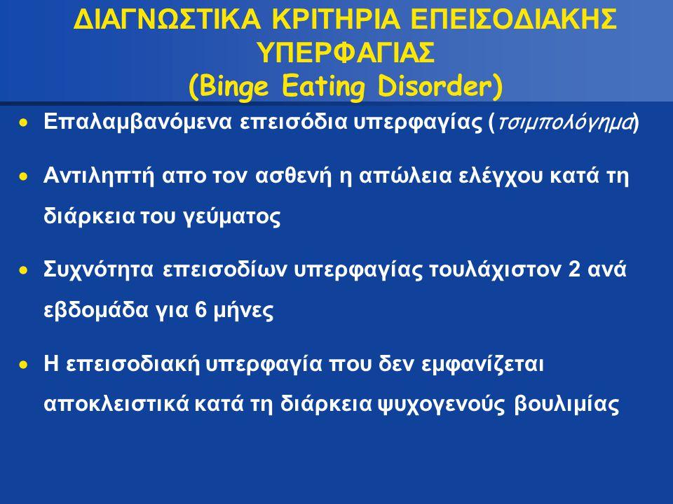 ΔΙΑΓΝΩΣΤΙΚΑ ΚΡΙΤΗΡΙΑ ΕΠΕΙΣΟΔΙΑΚΗΣ ΥΠΕΡΦΑΓΙΑΣ (Binge Eating Disorder)