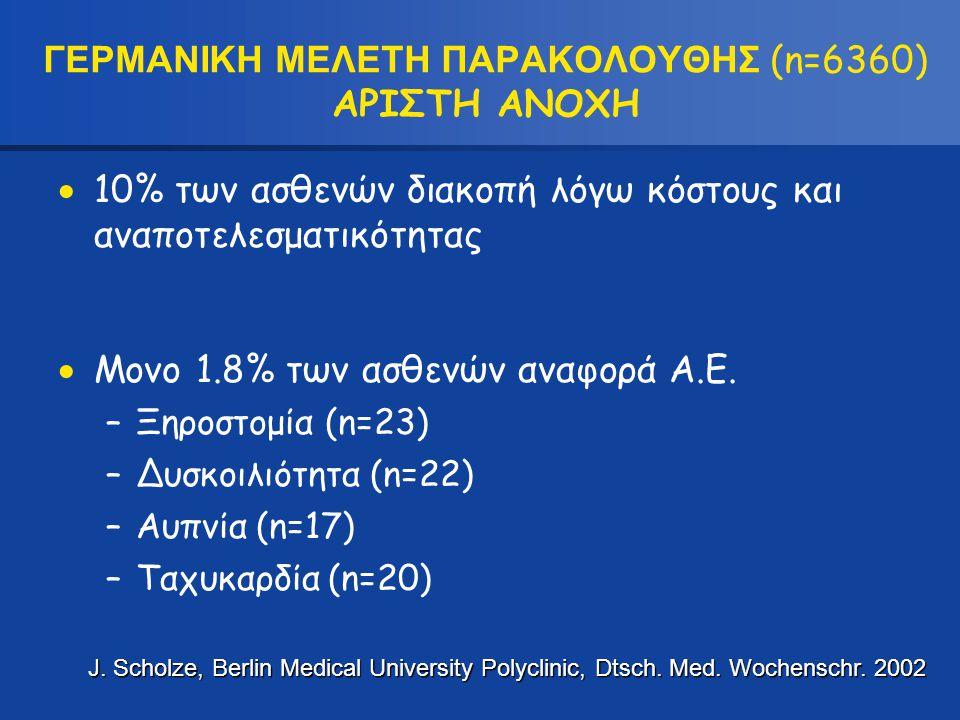 ΓΕΡΜΑΝΙΚΗ ΜΕΛΕΤΗ ΠΑΡΑΚΟΛΟΥΘΗΣ (n=6360) ΑΡΙΣΤΗ ΑΝΟΧΗ