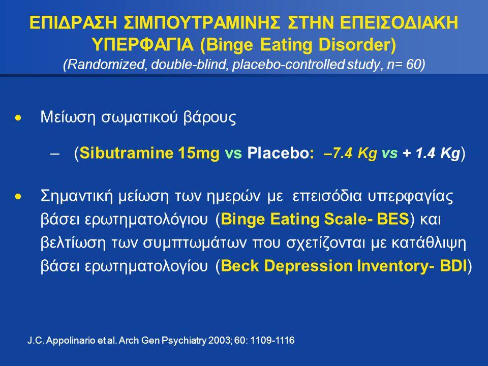 ΕΠΙΔΡΑΣΗ ΣΙΜΠΟΥΤΡΑΜΙΝΗΣ ΣΤΗΝ ΕΠΕΙΣΟΔΙΑΚΗ ΥΠΕΡΦΑΓΙΑ (Binge Eating Disorder) (Randomized, double-blind, placebo-controlled study, n= 60)