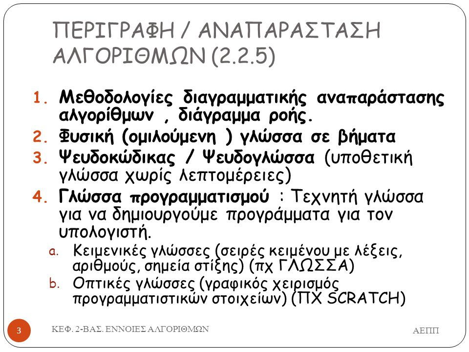 ΠΕΡΙΓΡΑΦΗ / ΑΝΑΠΑΡΑΣΤΑΣΗ ΑΛΓΟΡΙΘΜΩΝ (2.2.5)