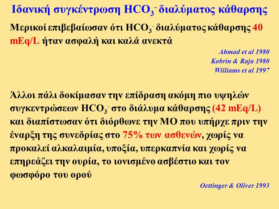 Ιδανική συγκέντρωση HCO3- διαλύματος κάθαρσης