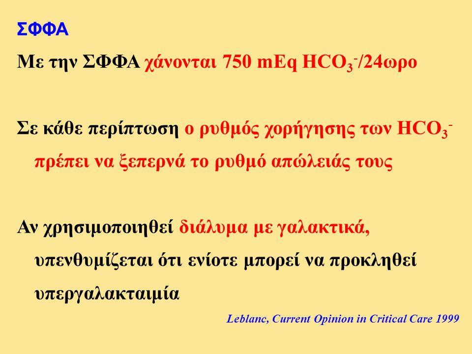Με την ΣΦΦΑ χάνονται 750 mEq HCO3-/24ωρο