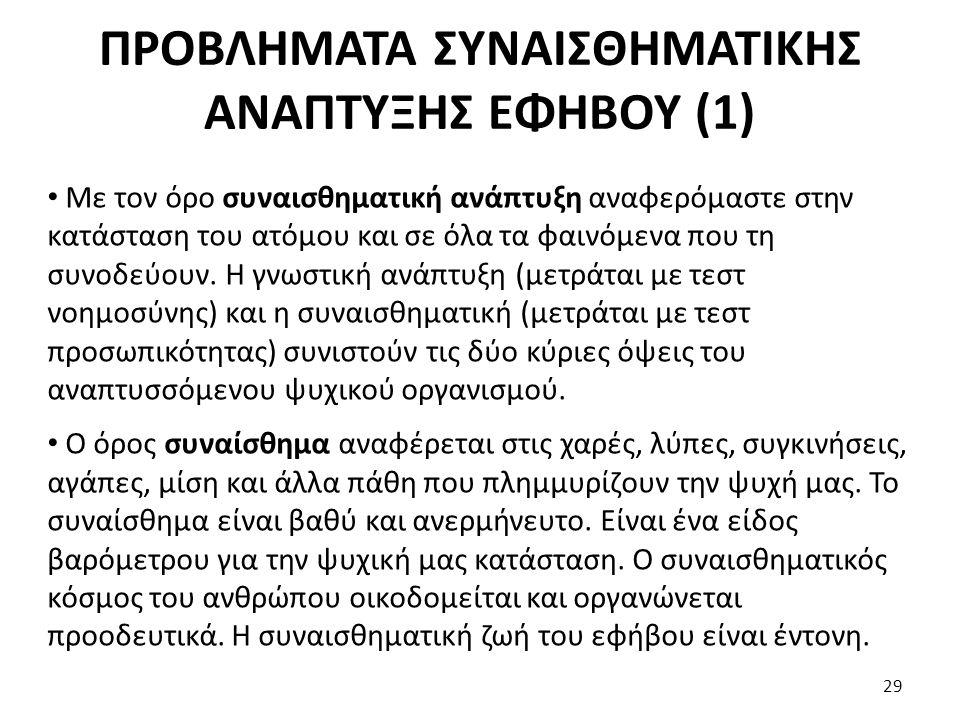 ΠΡΟΒΛΗΜΑΤΑ ΣΥΝΑΙΣΘΗΜΑΤΙΚΗΣ ΑΝΑΠΤΥΞΗΣ ΕΦΗΒΟΥ (1)