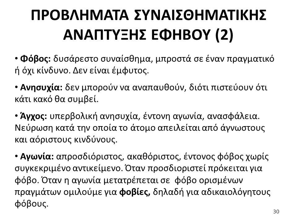 ΠΡΟΒΛΗΜΑΤΑ ΣΥΝΑΙΣΘΗΜΑΤΙΚΗΣ ΑΝΑΠΤΥΞΗΣ ΕΦΗΒΟΥ (2)