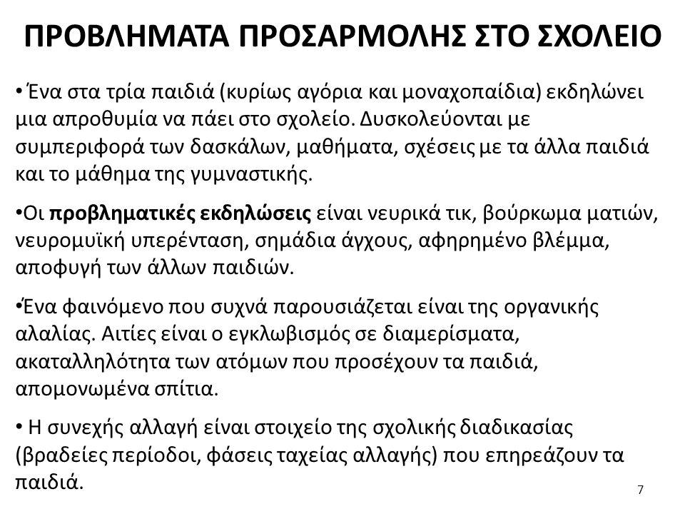 ΠΡΟΒΛΗΜΑΤΑ ΠΡΟΣΑΡΜΟΛΗΣ ΣΤΟ ΣΧΟΛΕΙΟ