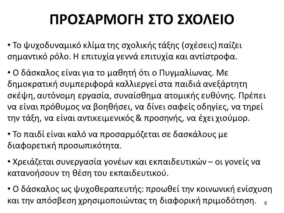 ΠΡΟΣΑΡΜΟΓΗ ΣΤΟ ΣΧΟΛΕΙΟ