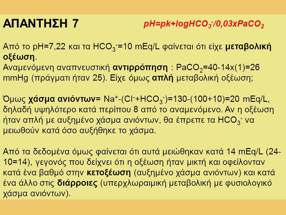 ΑΠΑΝΤΗΣΗ 7 pH=pk+logHCO3-/0,03xPaCO2