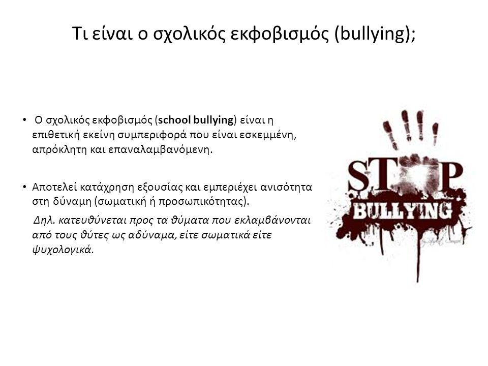 Τι είναι ο σχολικός εκφοβισμός (bullying);