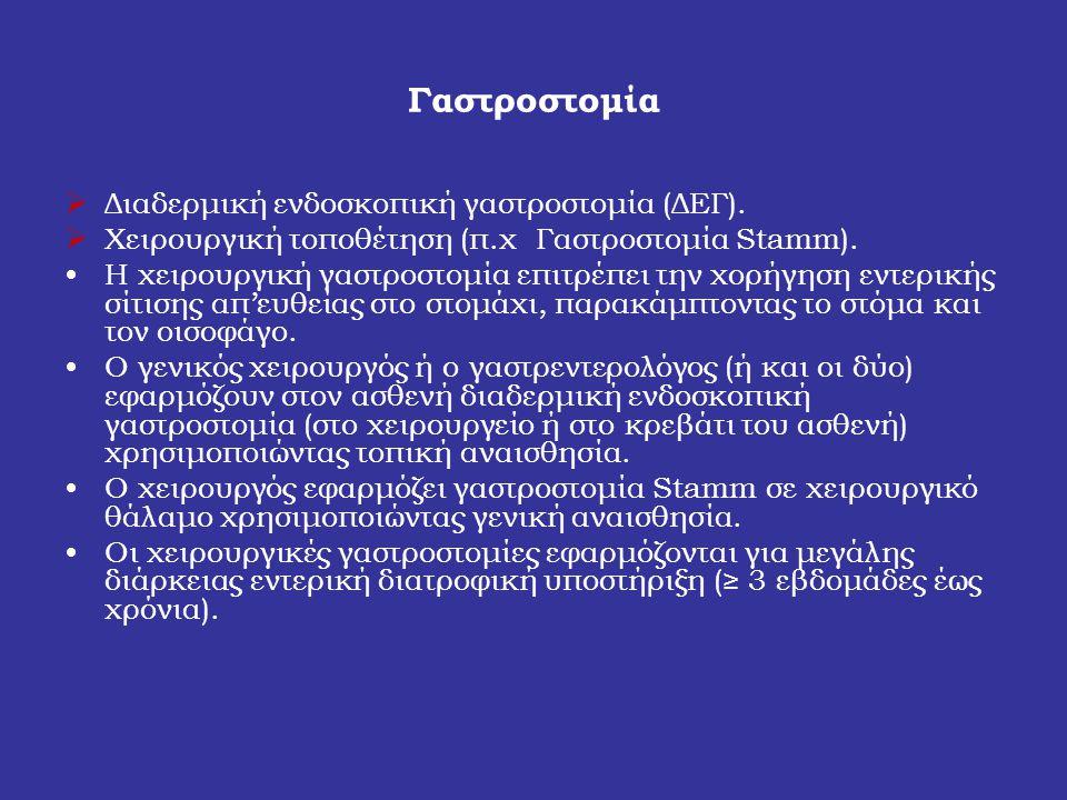 Γαστροστομία Διαδερμική ενδοσκοπική γαστροστομία (ΔΕΓ).