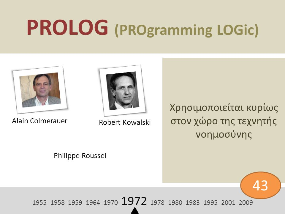 PROLOG (PROgramming LOGic)