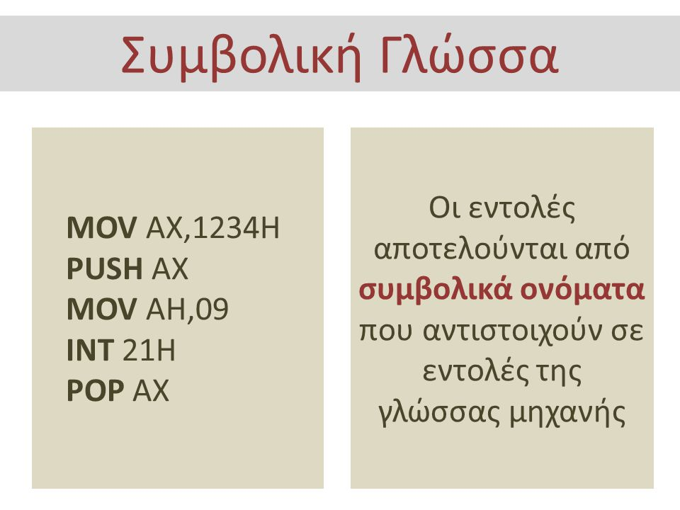 Συμβολική Γλώσσα MOV AX,1234H. PUSH AX. MOV AH,09. INT 21H. POP AX.
