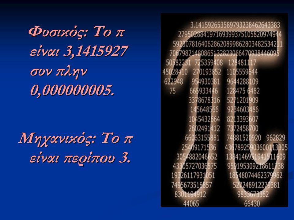 Φυσικός: Το π είναι 3,1415927 συν πλην 0,000000005.