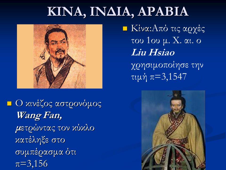 ΚΙΝΑ, ΙΝΔΙΑ, ΑΡΑΒΙΑ Κίνα:Από τις αρχές του 1ου μ. Χ. αι. ο Liu Hsiao χρησιμοποίησε την τιμή π=3,1547.