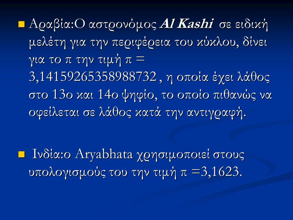 Αραβία:Ο αστρονόμος Al Kashi σε ειδική μελέτη για την περιφέρεια του κύκλου, δίνει για το π την τιμή π = 3,14159265358988732 , η οποία έχει λάθος στο 13ο και 14ο ψηφίο, το οποίο πιθανώς να οφείλεται σε λάθος κατά την αντιγραφή.