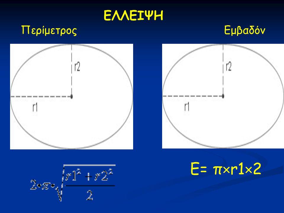 ΕΛΛΕΙΨΗ Περίμετρος Εμβαδόν E= π×r1×2