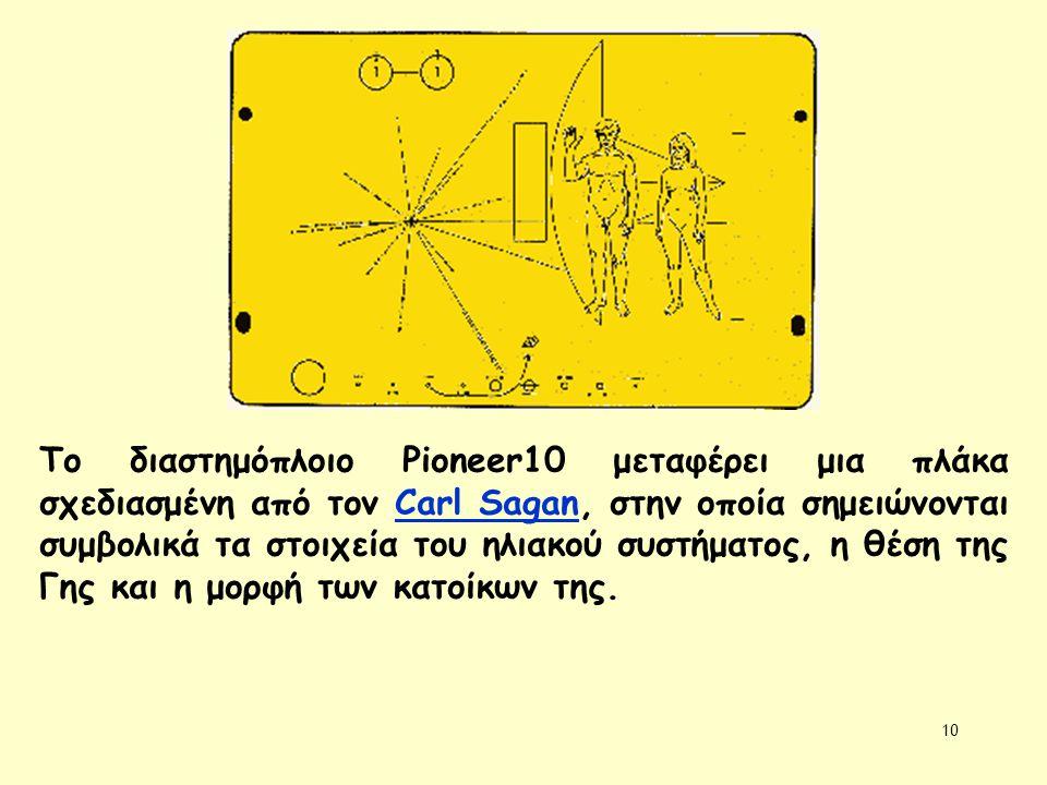 Το διαστημόπλοιο Pioneer10 μεταφέρει μια πλάκα σχεδιασμένη από τον Carl Sagan, στην οποία σημειώνονται συμβολικά τα στοιχεία του ηλιακού συστήματος, η θέση της Γης και η μορφή των κατοίκων της.