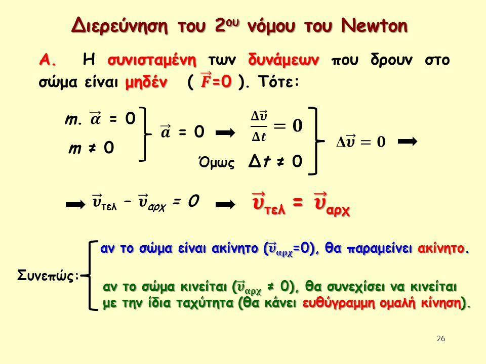 𝝊 τελ = 𝝊 αρχ Διερεύνηση του 2ου νόμου του Newton 𝚫 𝝊 𝚫𝒕 =𝟎