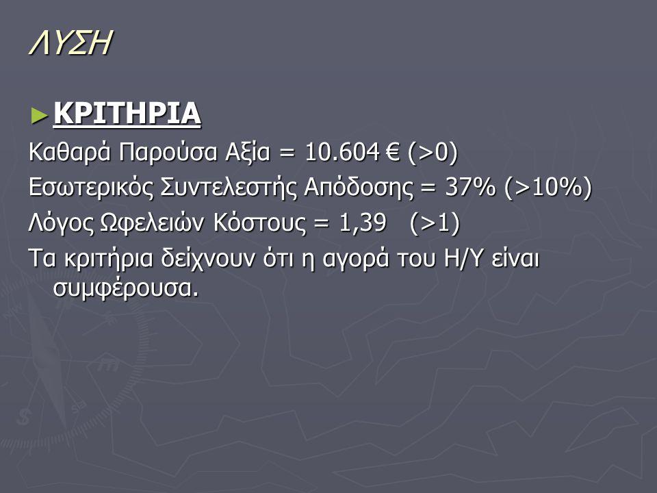 ΛΥΣΗ ΚΡΙΤΗΡΙΑ Καθαρά Παρούσα Αξία = 10.604 € (>0)