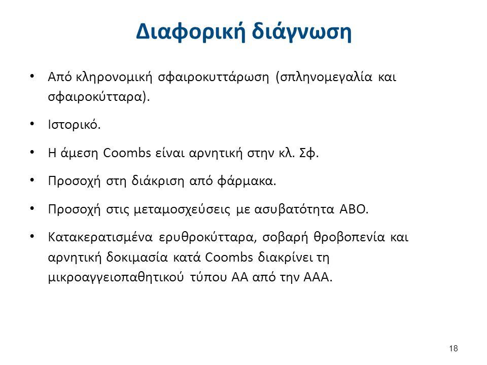 Θεραπεία ΑΑΑ Μετάγγιση ερυθροκυττάρων (δύσκολη).