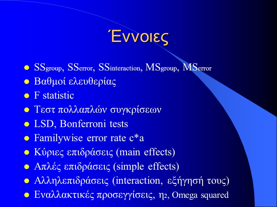 Έννοιες SSgroup, SSerror, SSinteraction, MSgroup, MSerror