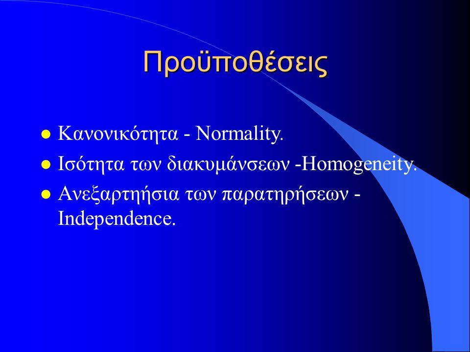 Προϋποθέσεις Κανονικότητα - Normality.