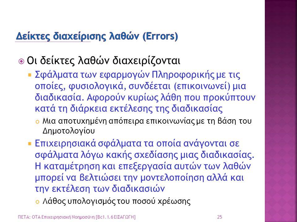 Δείκτες διαχείρισης λαθών (Errors)