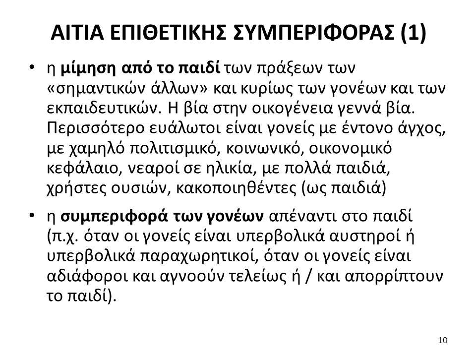 ΑΙΤΙΑ ΕΠΙΘΕΤΙΚΗΣ ΣΥΜΠΕΡΙΦΟΡΑΣ (1)