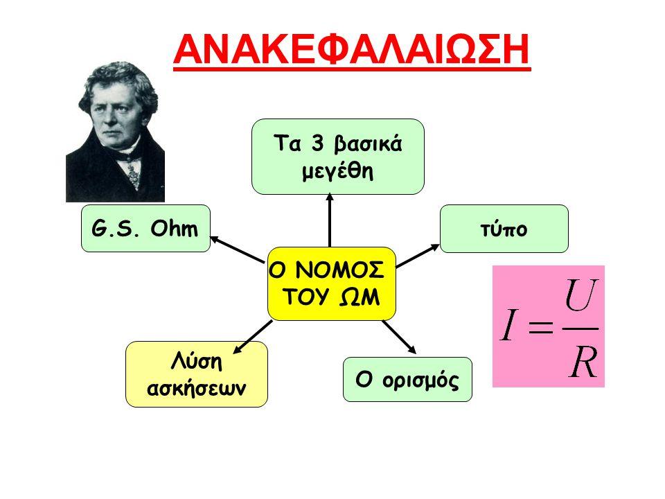 ΑΝΑΚΕΦΑΛΑΙΩΣΗ Τα 3 βασικά μεγέθη G.S. Ohm τύπο Ο ΝΟΜΟΣ ΤΟΥ ΩΜ Λύση
