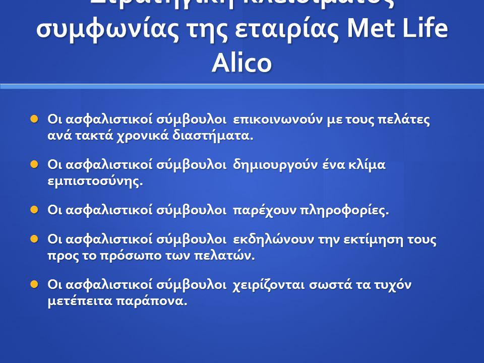 Στρατηγική κλεισίματος συμφωνίας της εταιρίας Met Life Alico