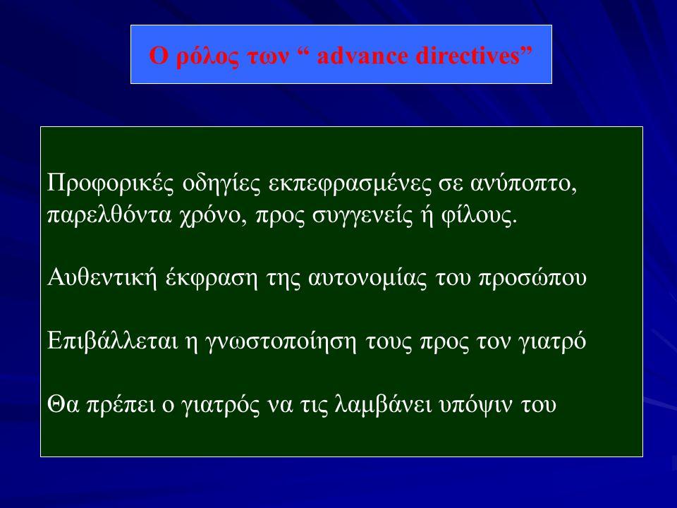 Ο ρόλος των advance directives