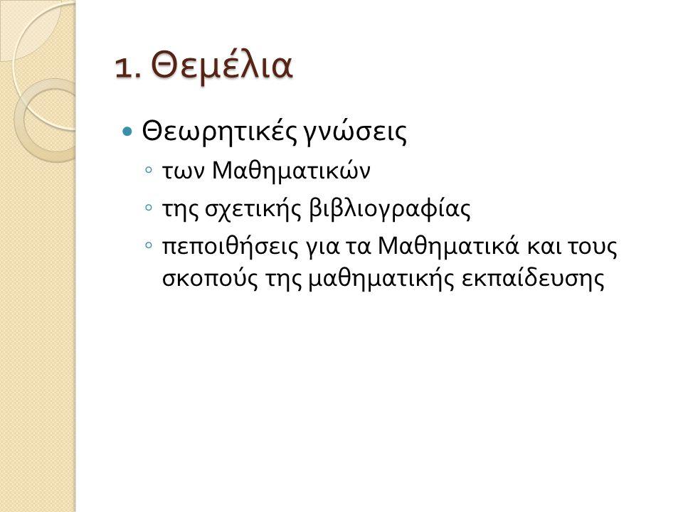 1. Θεμέλια Θεωρητικές γνώσεις των Μαθηματικών