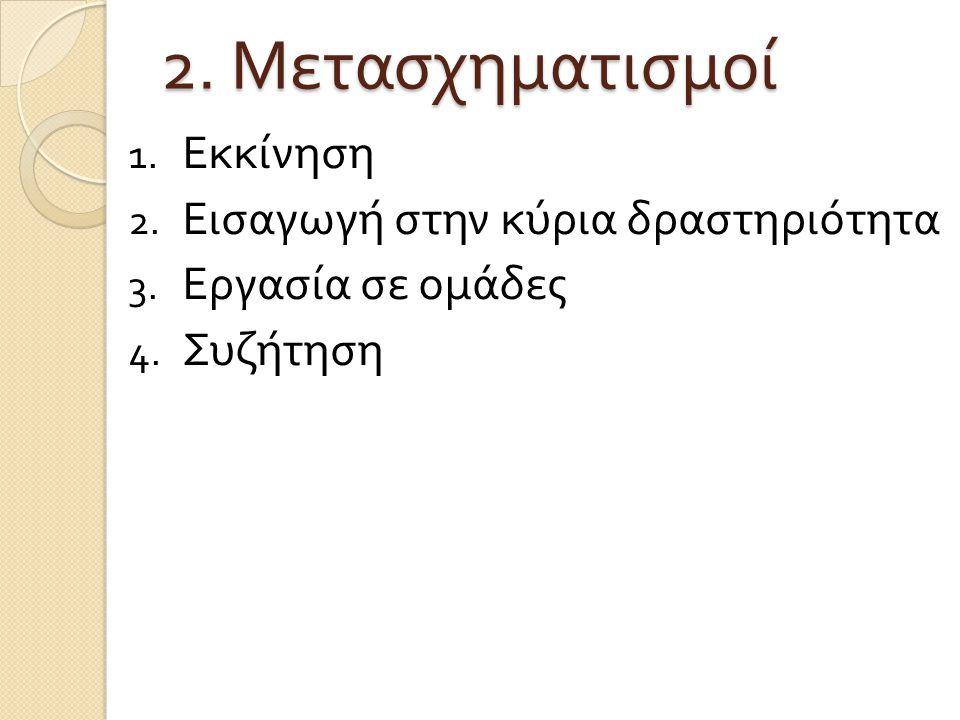 2. Μετασχηματισμοί Εκκίνηση Εισαγωγή στην κύρια δραστηριότητα