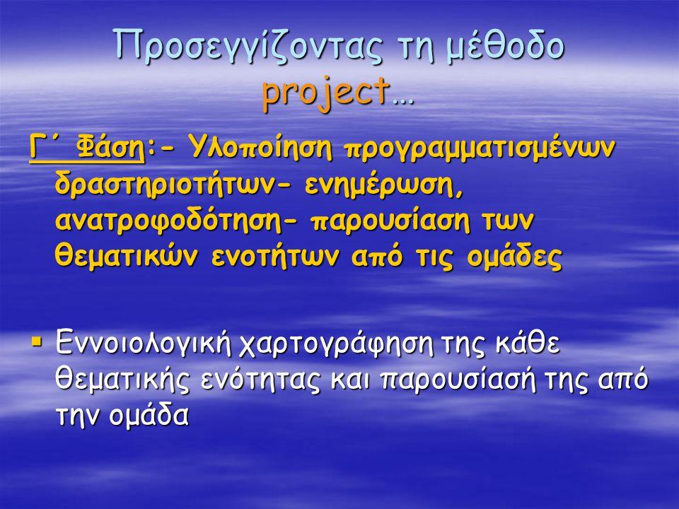 Προσεγγίζοντας τη μέθοδο project…