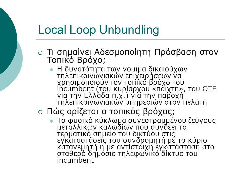Local Loop Unbundling Τι σημαίνει Αδεσμοποίητη Πρόσβαση στον Τοπικό Βρόχο;
