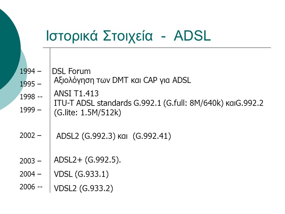 Ιστορικά Στοιχεία - ADSL