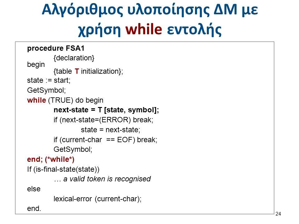 Αλγόριθμος υλοποίησης ΔΜ με χρήση case εντολής