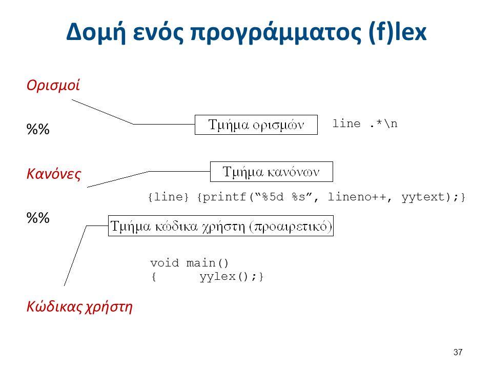 Σύνταξη flex %{ /* πρόγραμμα αρίθμησης των γραμμών ενός κειμένου */