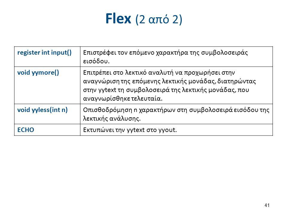 Γεννήτριες λεκτικών αναλυτών X (1 από 2)