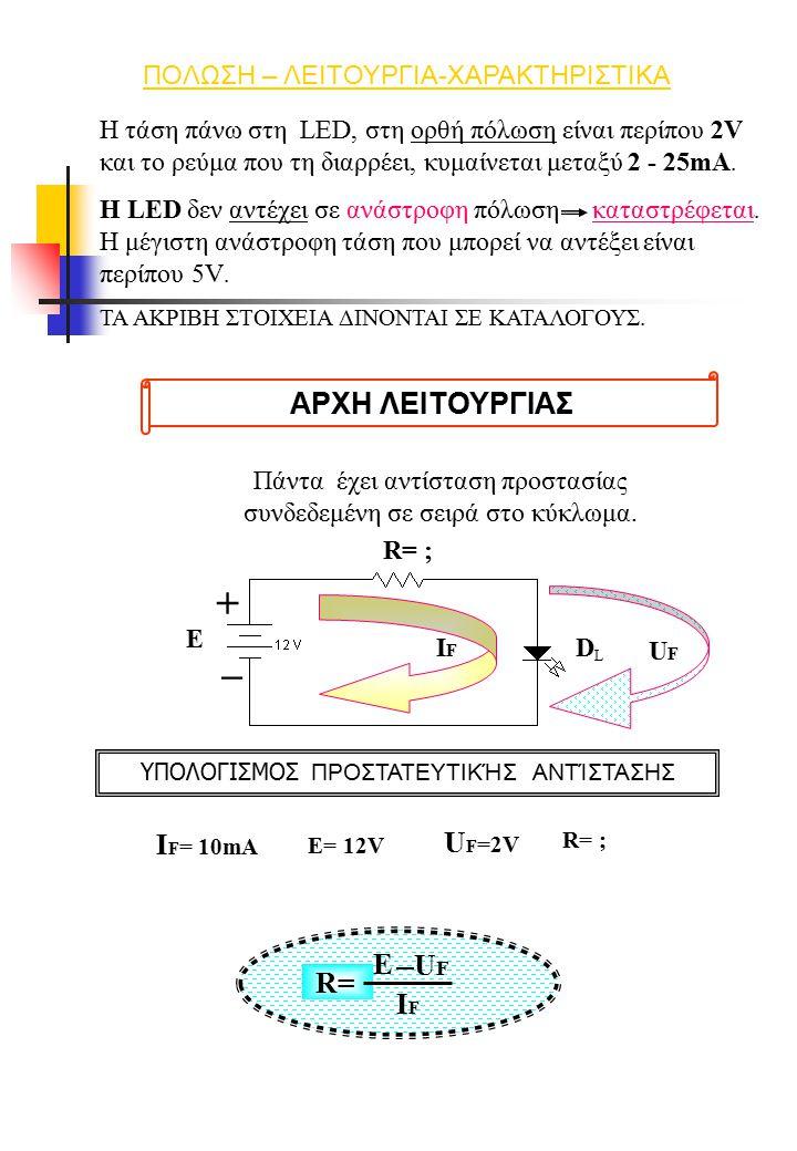 + _ ΑΡΧΗ ΛΕΙΤΟΥΡΓΙΑΣ IF= 10mA UF=2V E UF R= IF