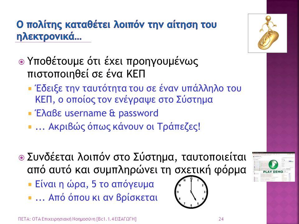 Ο πολίτης καταθέτει λοιπόν την αίτηση του ηλεκτρονικά…