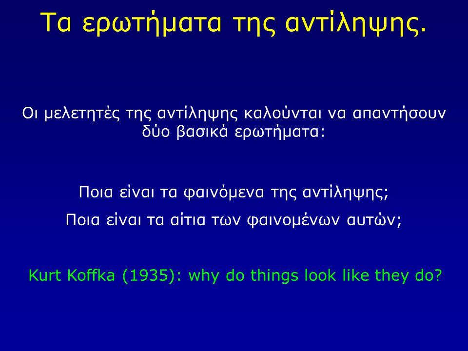 Τα ερωτήματα της αντίληψης.
