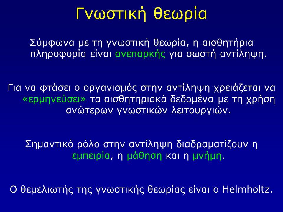 Ο θεμελιωτής της γνωστικής θεωρίας είναι ο Helmholtz.
