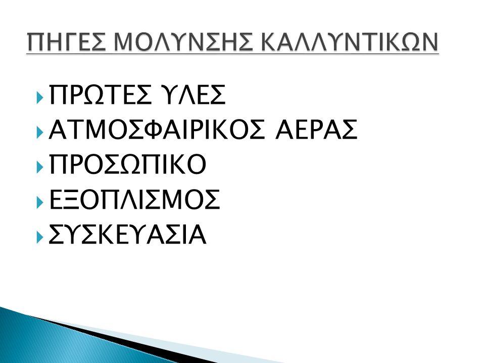 ΠΗΓΕΣ ΜΟΛΥΝΣΗΣ ΚΑΛΛΥΝΤΙΚΩΝ